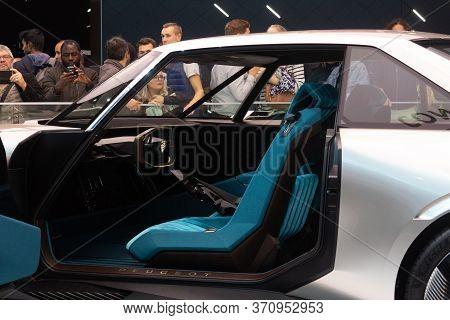 Paris, Ile De France / France - October 07 2018 : Mondial Paris Motor Show Blue Interior Peugeot E-l