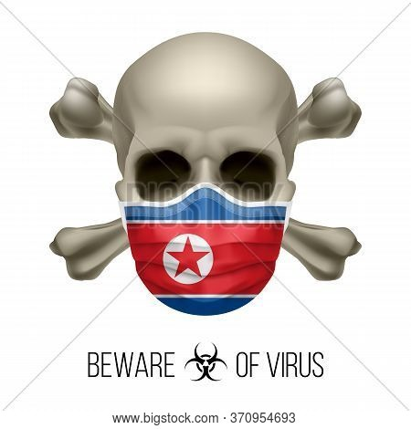 Human Skull And Surgical Mask In The Color Of National Flag North Korea. Mask In Form Of The North K