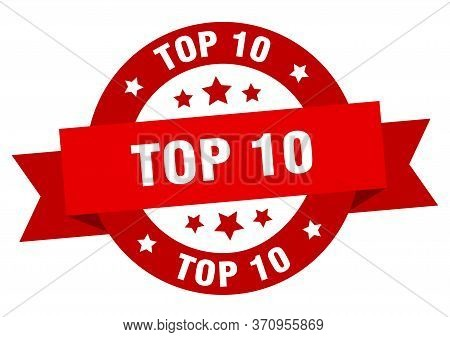 Top 10 Ribbon. Top 10 Round Red Sign. Top 10