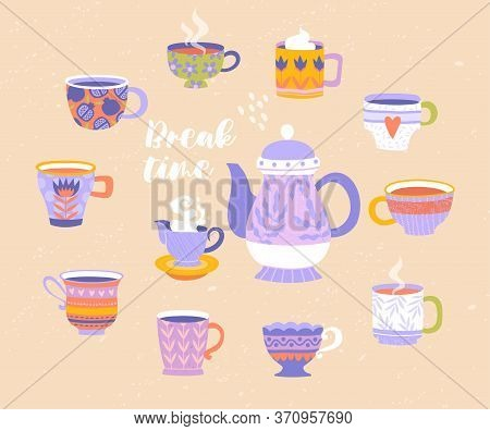 Break Or Teatime With Teapot And Milk Jug Surrounded By Assorted Colorful Patterned Tea And Coffee C