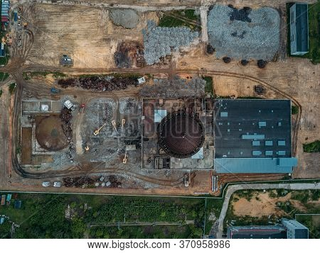 Aerial View Of Demolition Site. Process Of Demolition Of Old Nuclear Power Plant