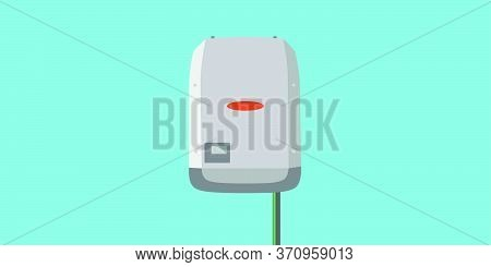 Inverter In Flat Design -  Solar Energy Equipment Concept Image. Space For Text.