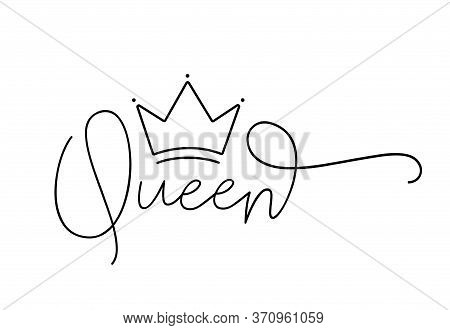 Queen. Lettering Typography Script Text With Crown For Poster, Vector Design Banner. Modern Calligra