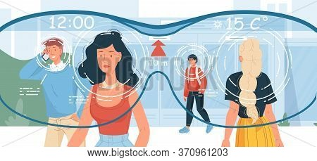 View On People Walking City Street Via Smart Glasses Wearable Device. Intelligence Accessories For A