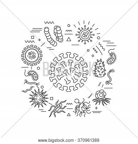Viruses And Germs Web Banner. Microscopic Germ Cause Diseases. Infographics With Linear Icons On Whi