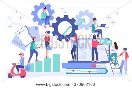 Business Workflow, Project Management, Teamwork Concept. Coworker Exchanging Information, Digital Da