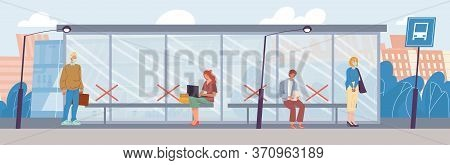 Diverse People Wearing Respiratory Medical Mask Keep Social Distance Stand At Bus Stop. Man Woman Ma