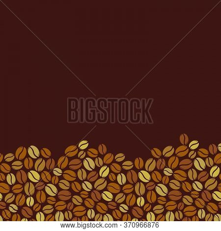 Roasted Coffee Beans Blank Square Dark Brown Frame. Graphic Menu Template Vector Illustration.