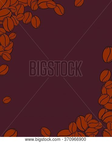 Scattered Roasted Coffee Beans Blank Dark Brown Frame. Graphic Menu Template Vector Illustration.
