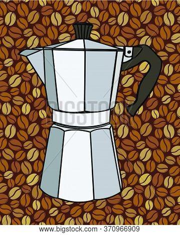 Italian Coffee Maker Or Moka Pot, Espresso Machine, Mocha Express. Hand Drawn Vector Illustration Ov