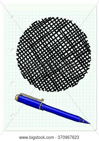 Vector Freeform Strokes Doodle Blank Frame And A Blue Ballpoint Pen. Hand Drawn Border Illustration