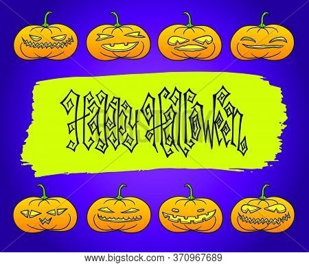 Happy Halloween With Pumpkins. Jack-o-lantern Holiday Vector Illustration. Dark Creepy Greeting Card