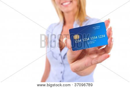 Isolated Young Business Woman Showing Credit Card