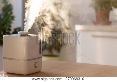 Close Up Of Aroma Oil Diffuser On The Table At Home, Steam From The Air Humidifier, Houseplants On B