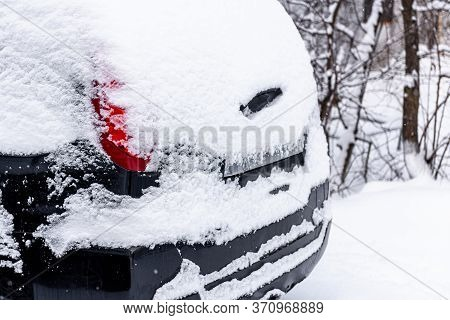 Snow Covered Car. Snowdrift Of Snow By Car. Car Standing In Snow. Winter, Snow, Car In Snowdrift.