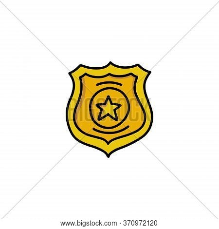 Police Badge Doodle Icon, Vector Color Illustration