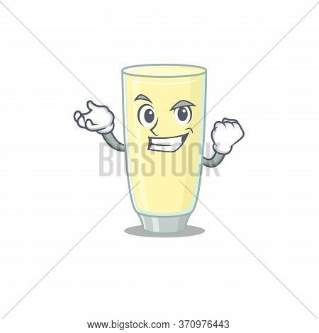 A Funny Cartoon Design Concept Of Screaming Orgasm Cocktail With Happy Face