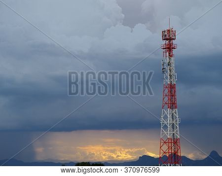 Mobile Phone Transmitter Antenna With Dramatic Sky With Cloud.storm Cloud.