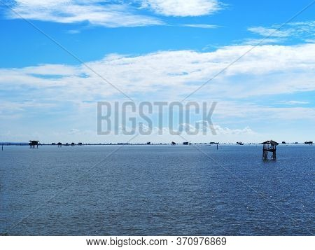 Landscape Of The Beautiful Sea At Bang Tabun, Ban Laem, Phetchaburi, Thailand.morning Sky.view Point