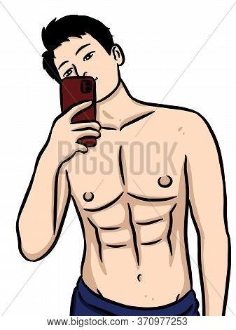 Art Cartoon Sexy Man On White Background