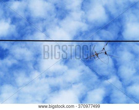 Kite Frame On Eletric Line And Blue Sky.