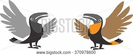 Hornbill Icon Isolated On Background Wild, Wildlife, Wing, Zoo, Zoological