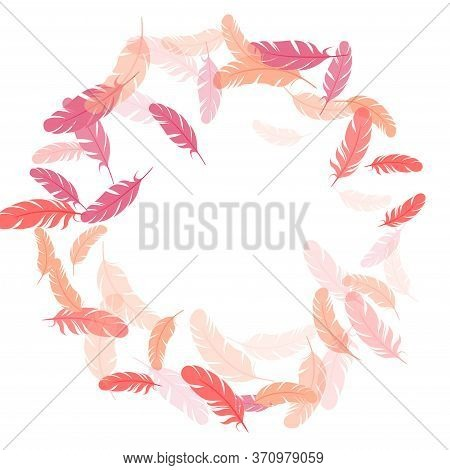 Paradise Pink Flamingo Feathers Vector Background. Falling Feather Elements Soft Vector Design. Quil