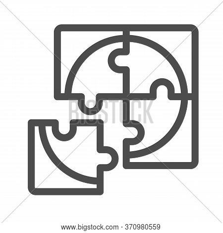 Four Puzzle Pieces Line Icon, Business Solution Concept, Jigsaw Puzzles Sign On White Background, Fo