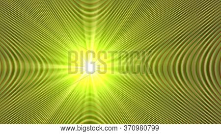 A Supernova With Long Yellow Rays. Psychedelic Picture.