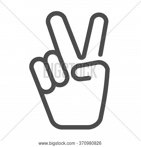 Hand Shows Victory Sign Line Icon, Hand Gestures Concept, Victory Sign On White Background, Peace Ha