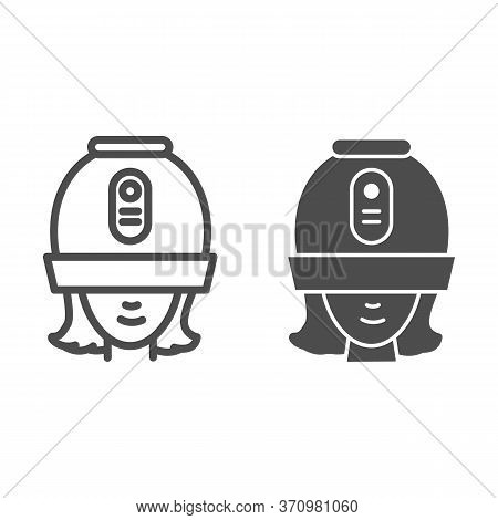 Young Woman Under Hooded Dryer Machine Line And Solid Icon, Hair Salon Concept, Girl Under Drying Ho