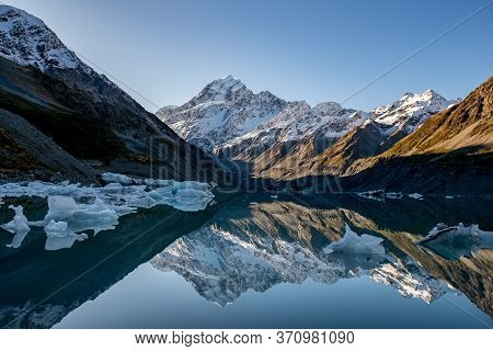 Amazing Reflections Of Both Mt Cook And The Icebergs Floating On Hooker Glacial Lake In  Aoraki Mt C