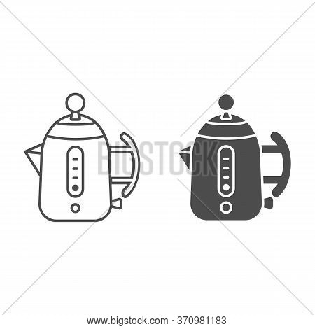 Modern Electric Teapot Line And Solid Icon, Modern Kitchen Utensils Concept, Teakettle Sign On White