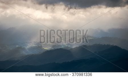 Rainy Around But Sun Shine Show Up To Beam Through The Clouds To The Forest In The Mountain On Doi I