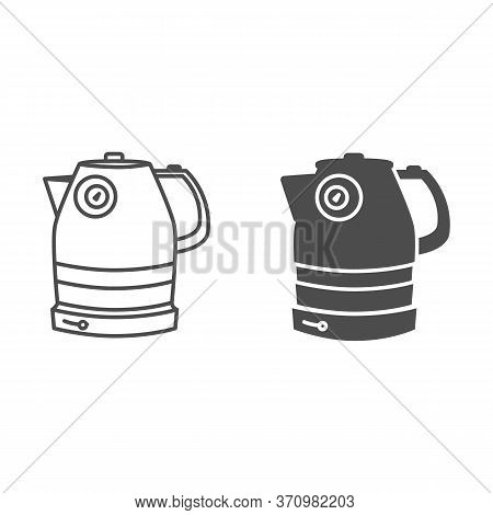 Electric Kettle Line And Solid Icon, Household Appliances Concept, Teakettle Sign On White Backgroun