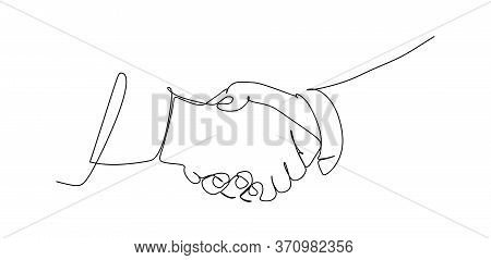 Two Businessmen Shaking Hands. Continuous One Line Drawing Illustration Vector