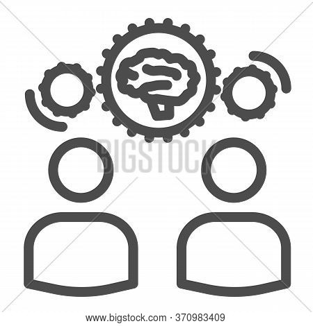 Two Men Share Knowledge Line Icon, Business Concept, Knowledge Or Ideas Sharing Between Two People S