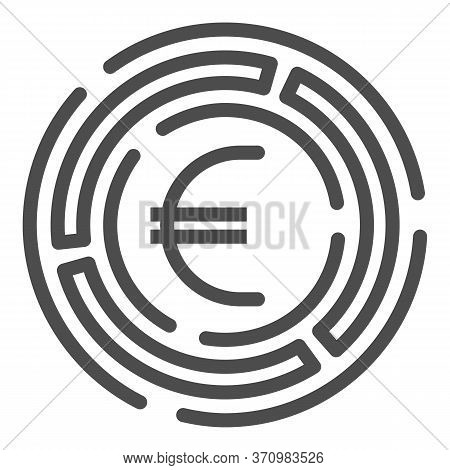 Labyrinth With Euro Coin Line Icon, Investment Decisions Concept, Labyrinth Chart Sign On White Back