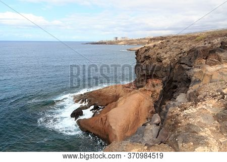 Coastline With Cliffs And Atlantic Ocean Near Beach Playa De Los Morteros On Canary Island Tenerife,