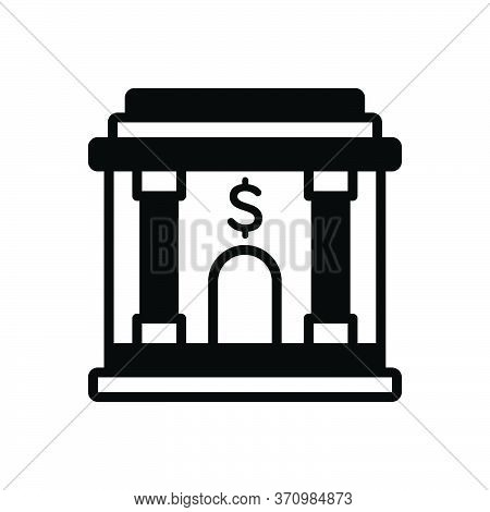 Black Solid Icon For Banking  Corporate Building Finances Emolument Revenues Saving Investment