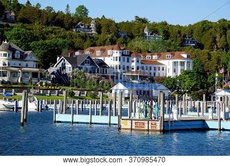 Mackinac Island, Michigan / United States - June 11, 2018: Sailboats And Yachts May Dock In The Mack