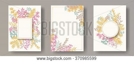 Simple Herb Twigs, Tree Branches, Flowers Floral Invitation Cards Collection. Herbal Frames Rustic I