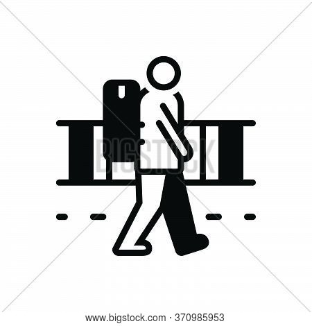 Black Solid Icon For Vagrant Strolling Rangy Nomad Migratory Emigrant