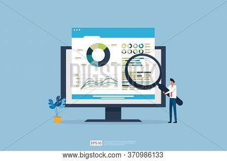 Monitoring And Analysis Report Statistics, Investment, Website Seo Screen Pc Monitor With Tiny Peopl