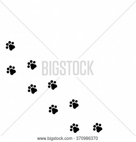 Print Of Footprints Of An Animal. Vector Trail Icon From Pawprint Cat Or Dog. Symbol Of A Walk With