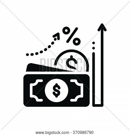 Black Solid Icon For Accrual Currency Wage Cash