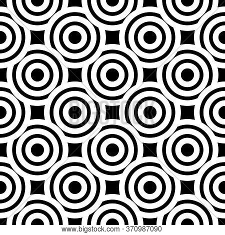 Black And White Simple Seamless Pattern With Circles For Textile, Fabric, Wallpaper, Print, Wrapping