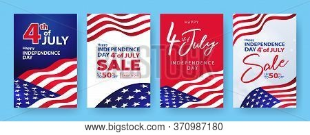 Fourth Of July. 4th Of July Holiday Banners, Posters, Cards Or Flyers Set. Usa Independence Day Desi