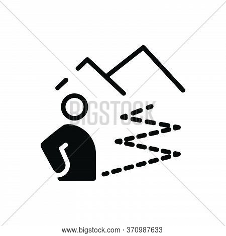 Black Solid Icon For Distance Location Far People Gap Space