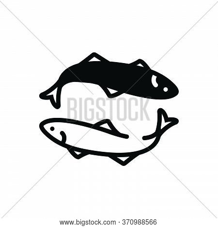 Black Solid Icon For Anchovy Fish Aquatic Whale Undersea Fishery Animal
